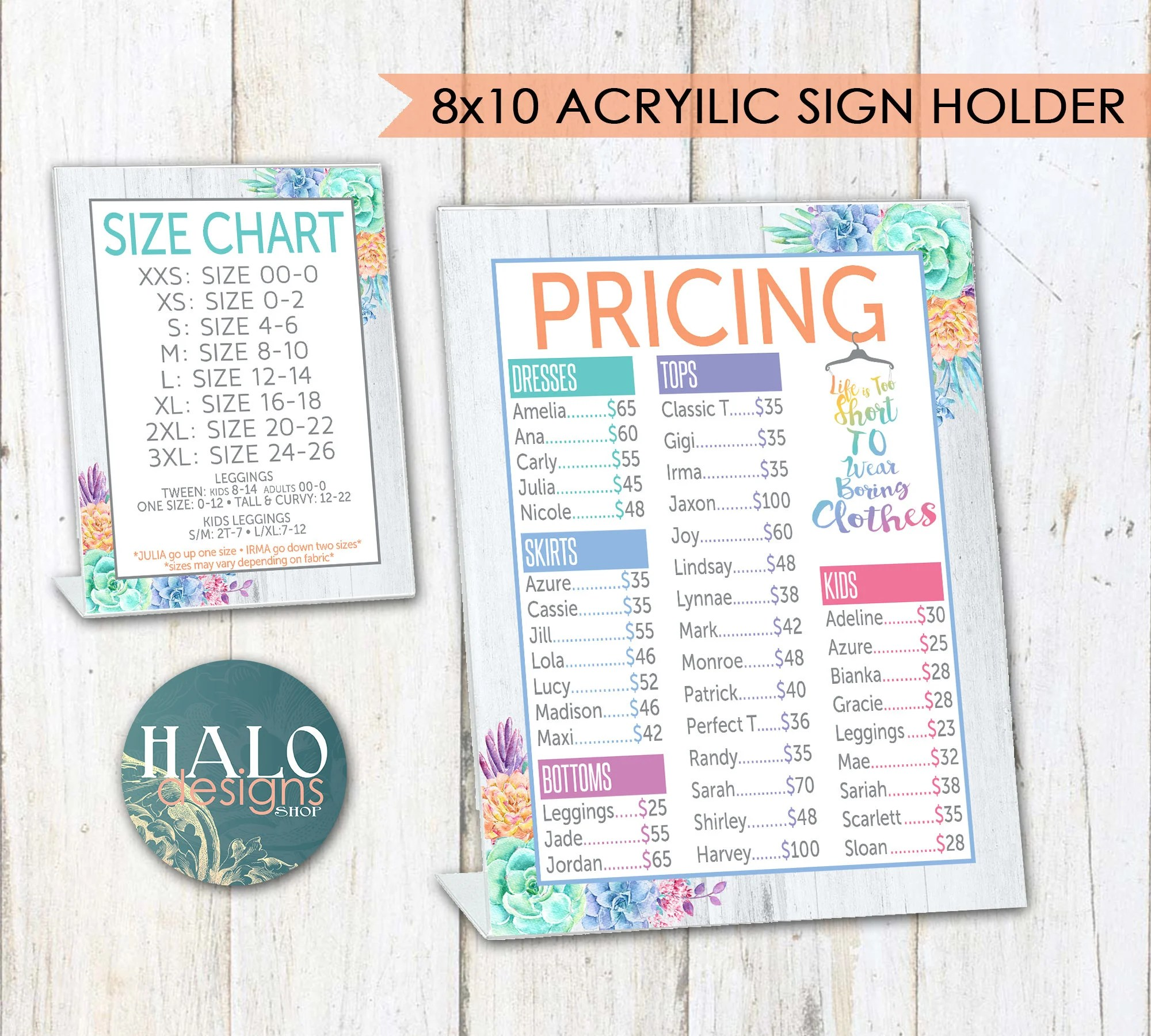 LLR Printed Pricing  Size Charts for Pop-Up Boutiques