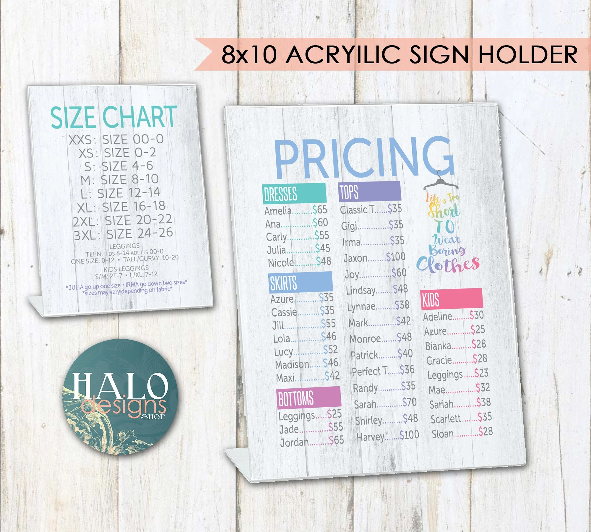 LLR Pricing  Size Charts for Pop-Up Boutiques Rustic Wood Etsy