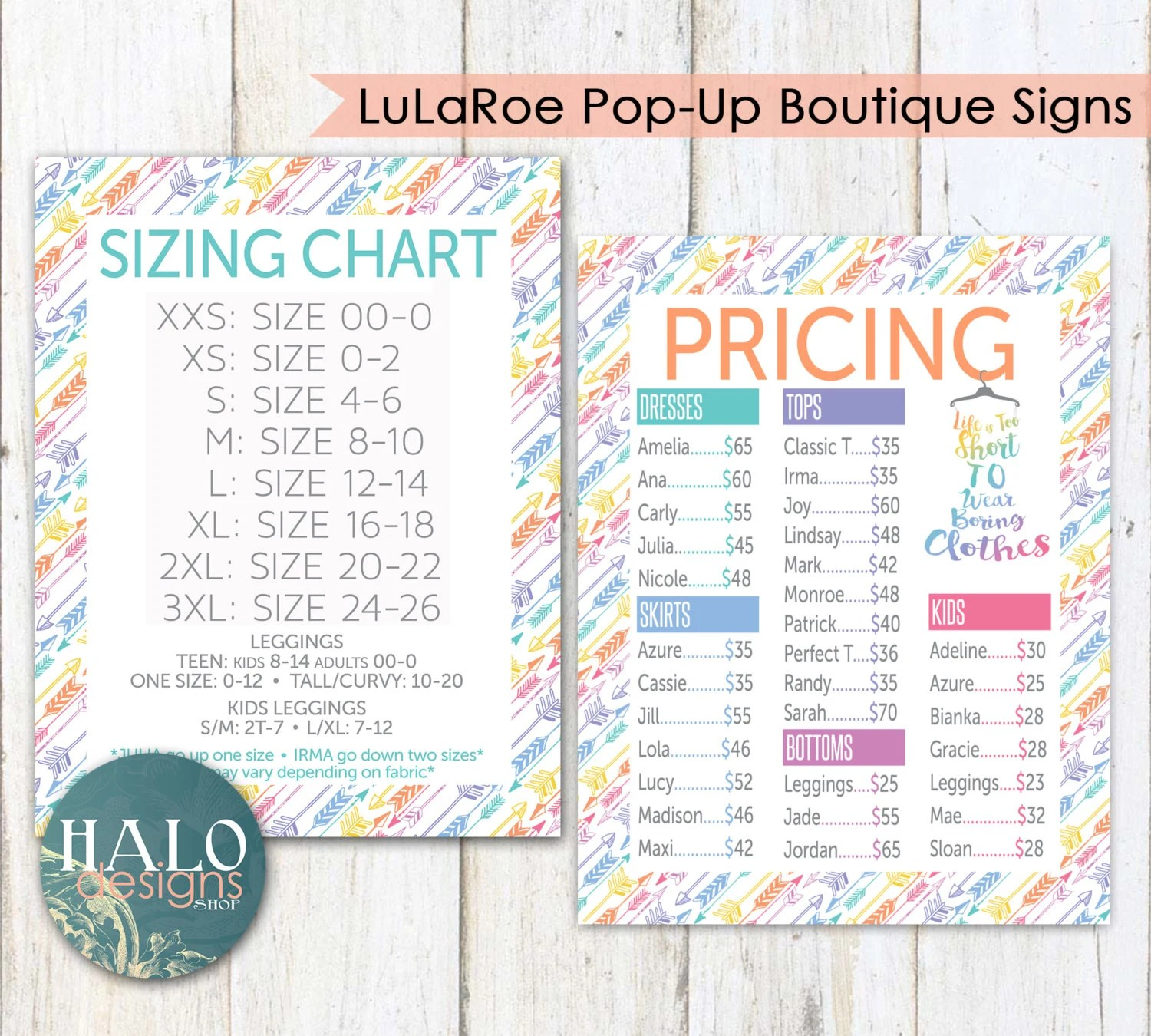 LLR ARROW Elegant Collection Pricing Chart for Pop-Up Etsy