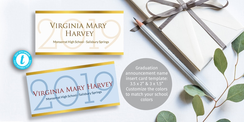 Printable graduation name card insert easy to customize Etsy