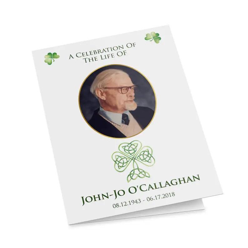 Irish Catholic funeral mass program template with shamrocks Etsy