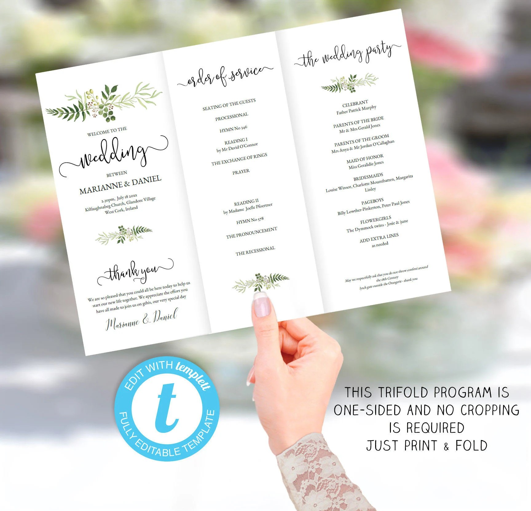 Printable tri-fold wedding program template order of service Etsy