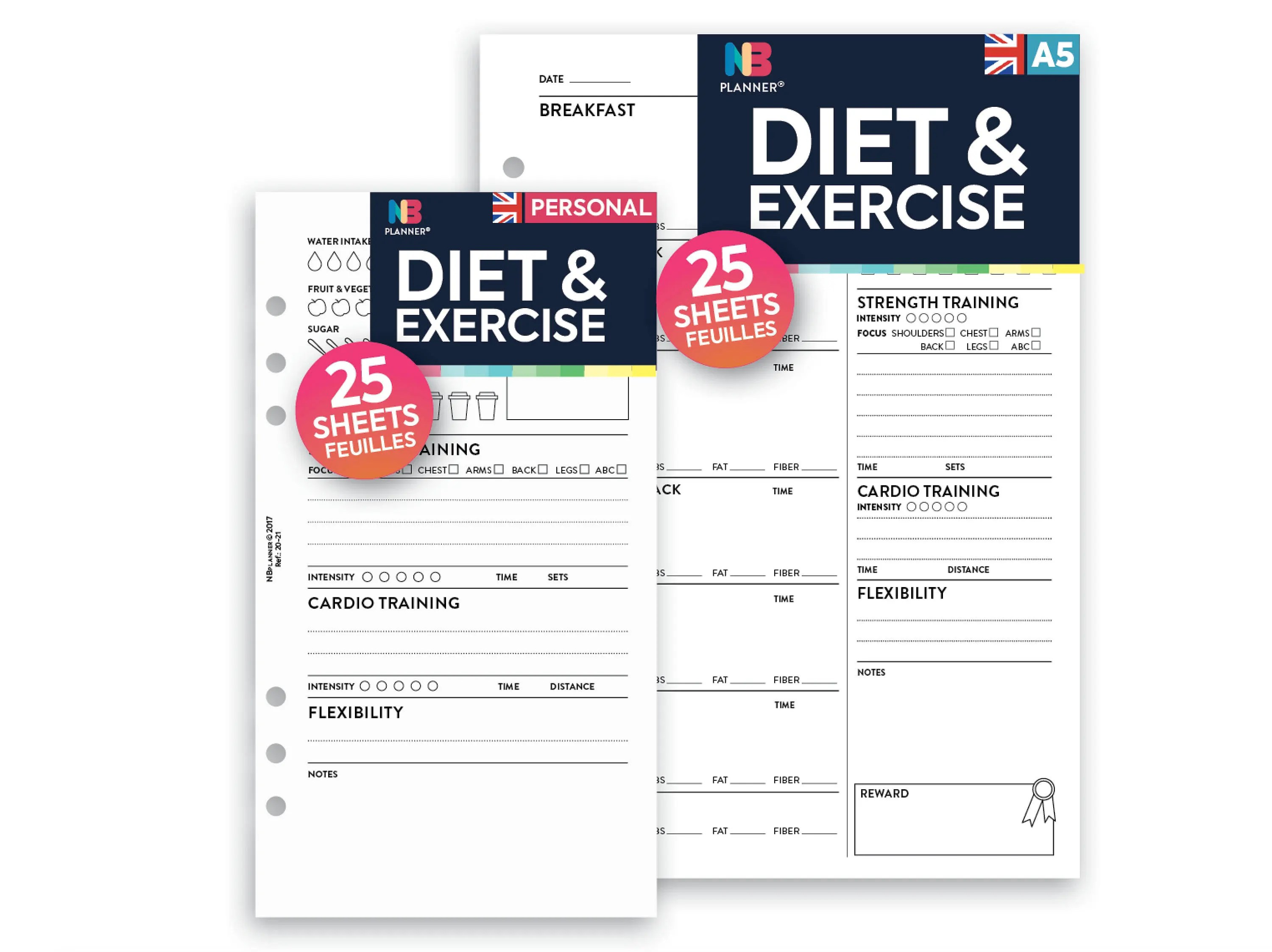 PRINTED Diet  exercise tracker Insert A5 / Personal Filofax - diet and exercise tracker