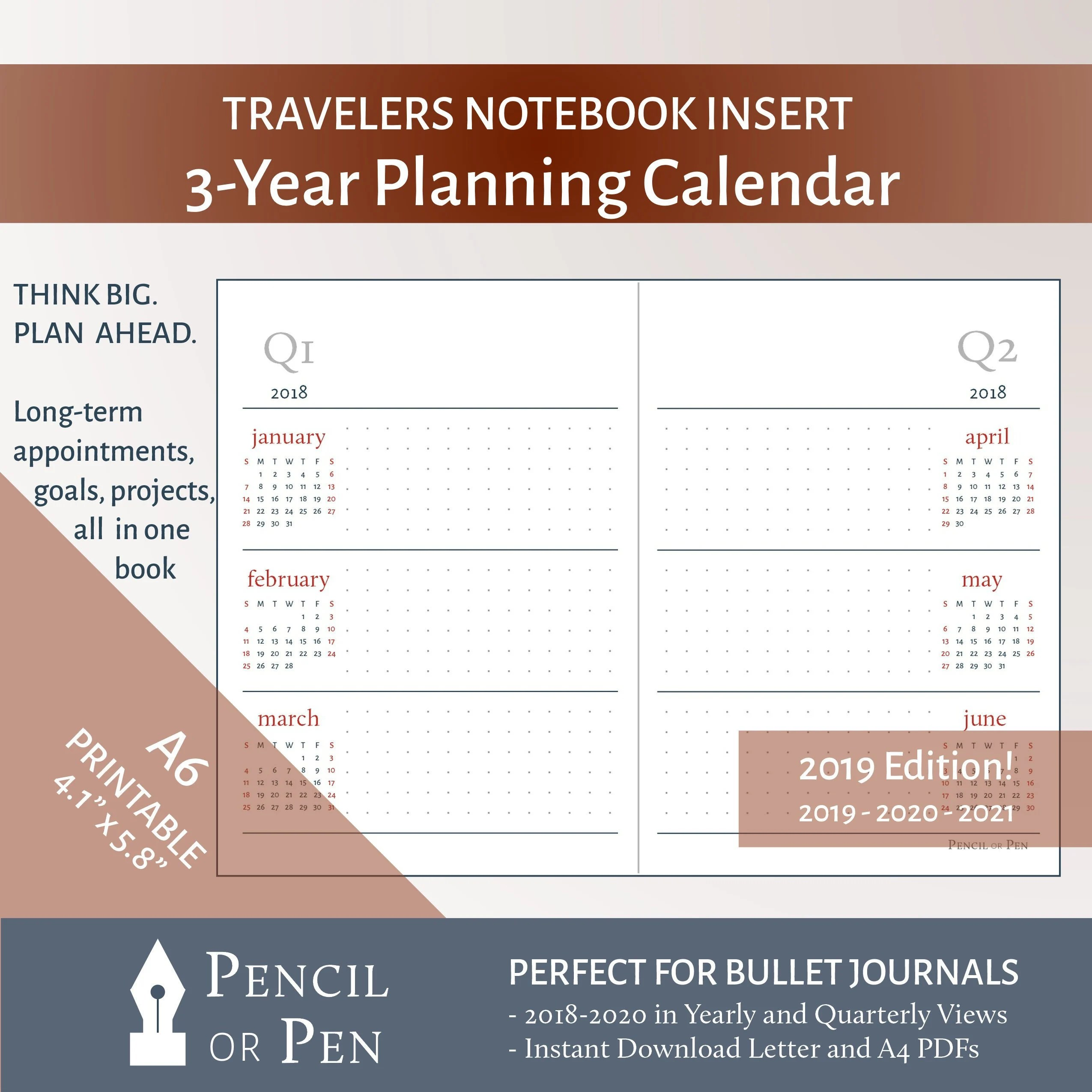 A6 3-Year Planning Calendar 2019 2021 Travelers Notebook Etsy