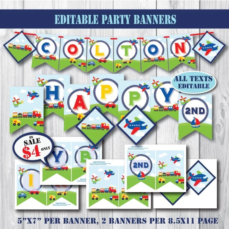 Self-Editing Transportation Birthday Banners-Printable Party Banners