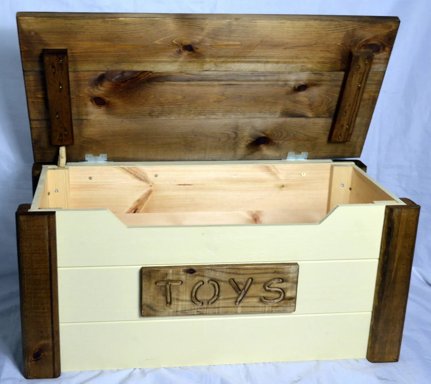 Toy Chests Handcrafted Wooden Rustic Pine Trunk Chest Toy Box Shabby Chic