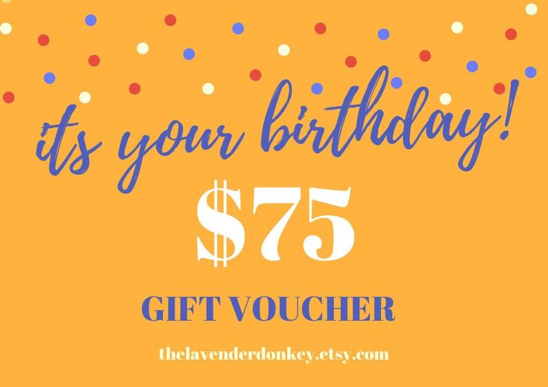 Birthday Gift Certificate Birthday Gift Voucher Printable 75 Etsy