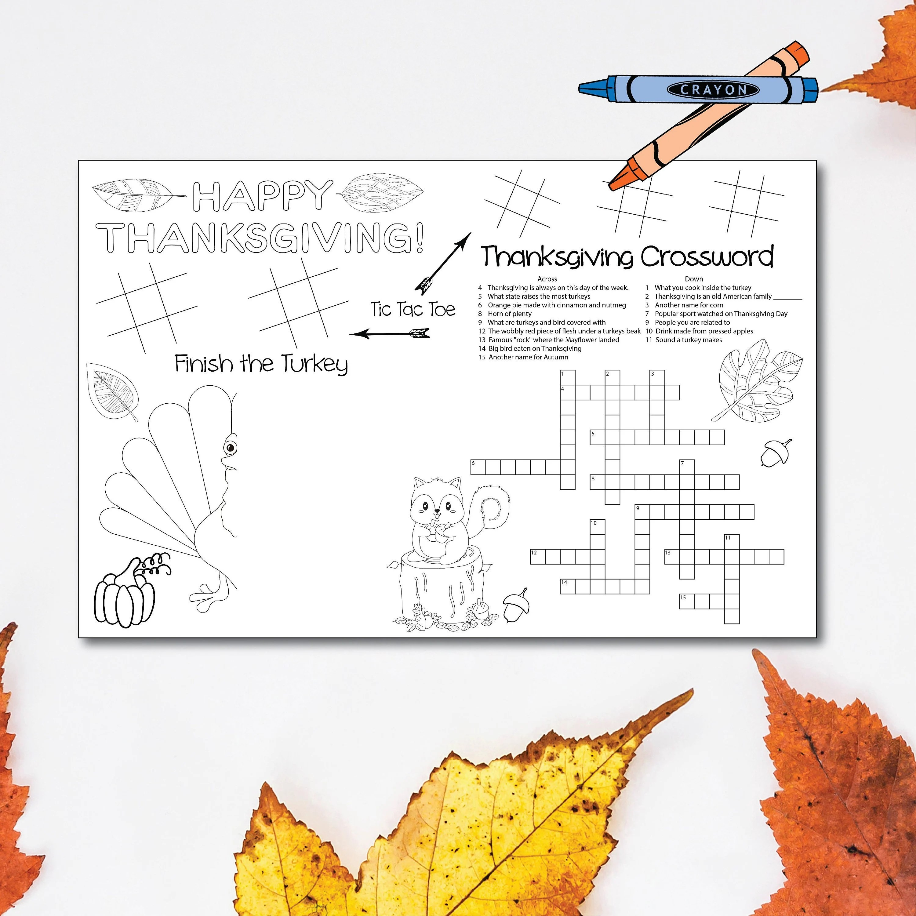 Printable Thanksgiving Placemat Thanksgiving Kids Table Etsy