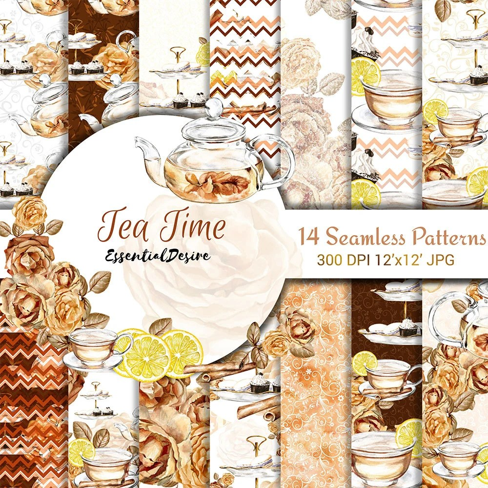 Tea Time Paper Pack Tea Party Digital Paper Pack Seamless Etsy