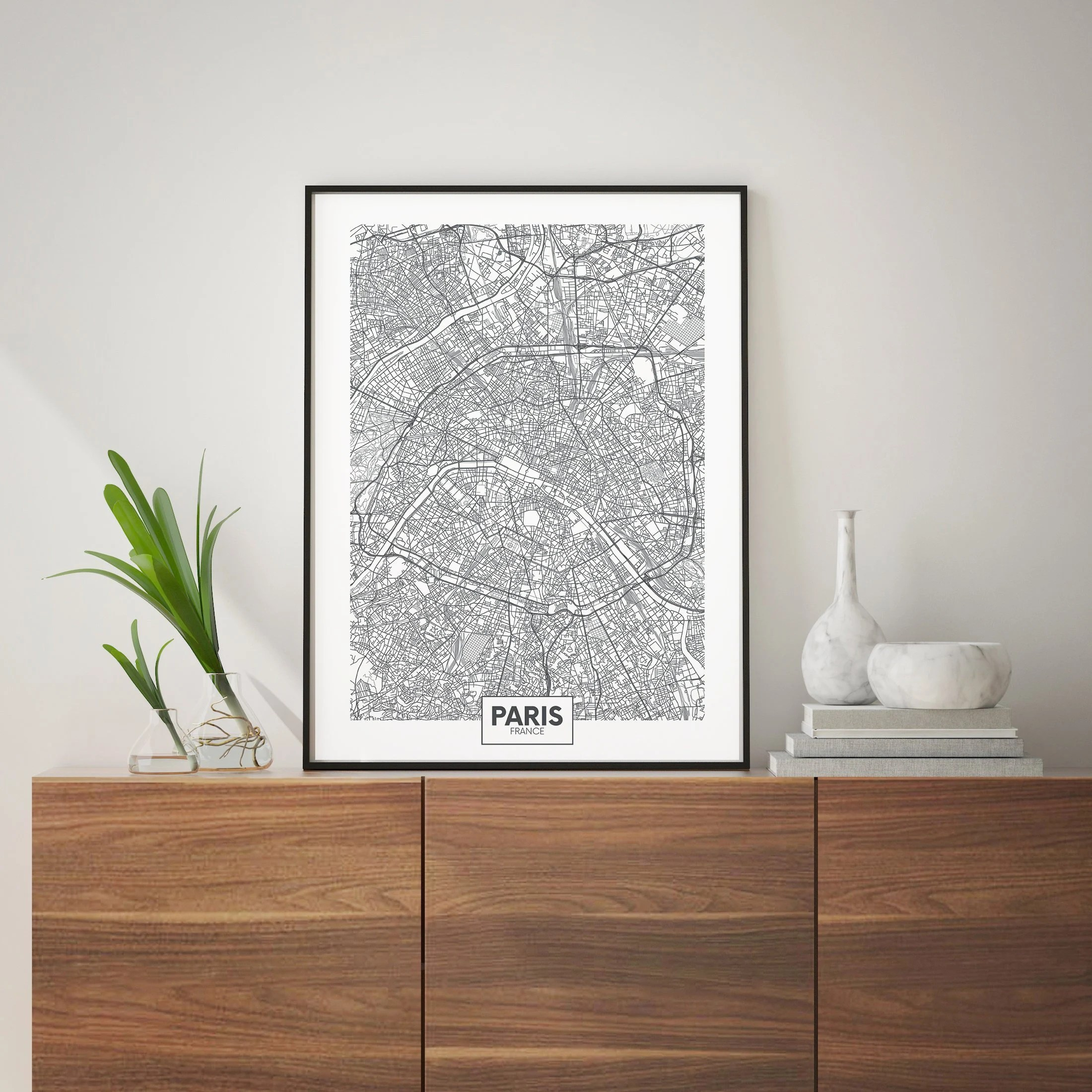 Paris map Paris art France artDigital map artDigital Etsy