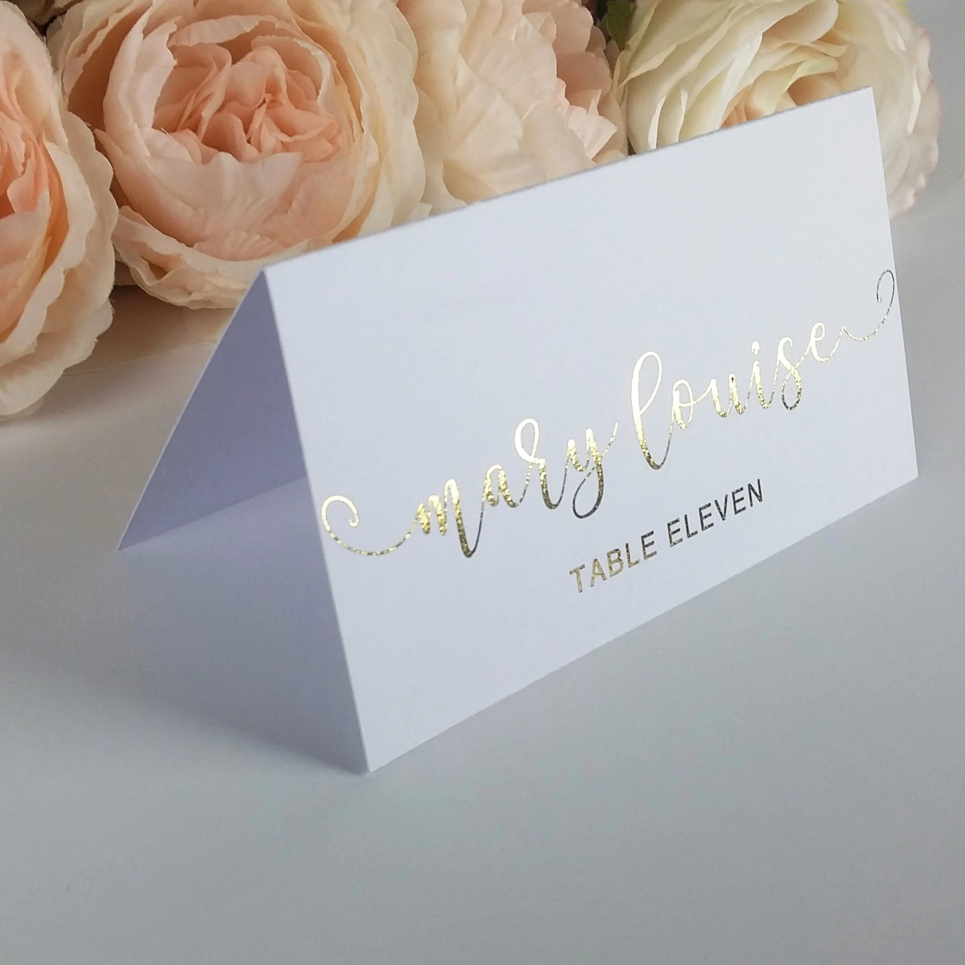 Gold Foil Foldover Place Cards Formal Place Seating Custom Etsy