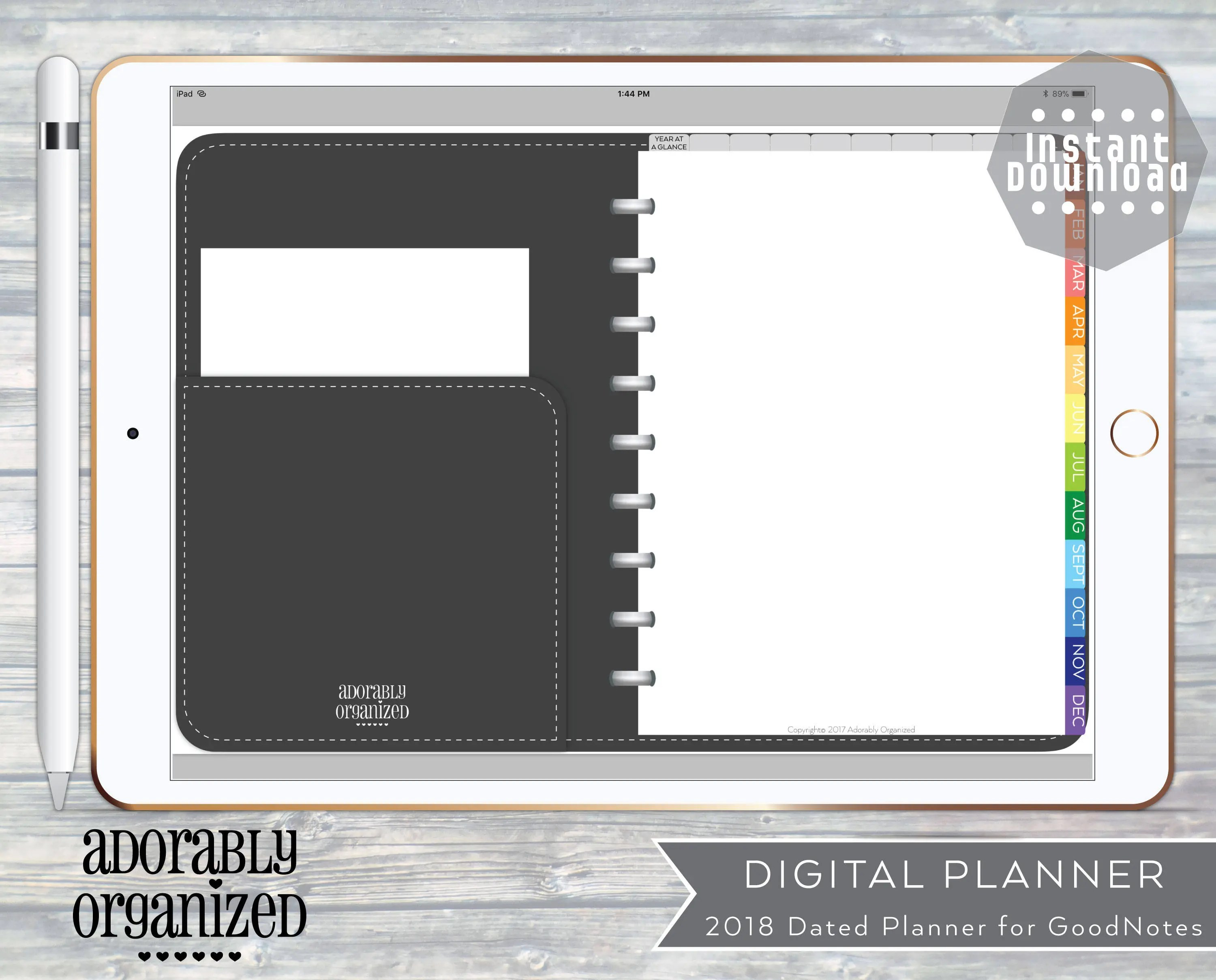 2018 DIGITAL PLANNER for GoodNotes iPadDated with linked Etsy