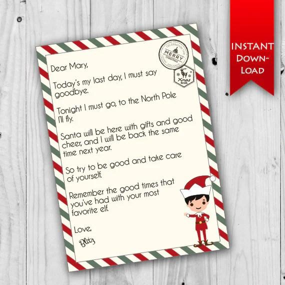Elf Goodbye Letter Holiday Stationary Printable Elf Letter Etsy
