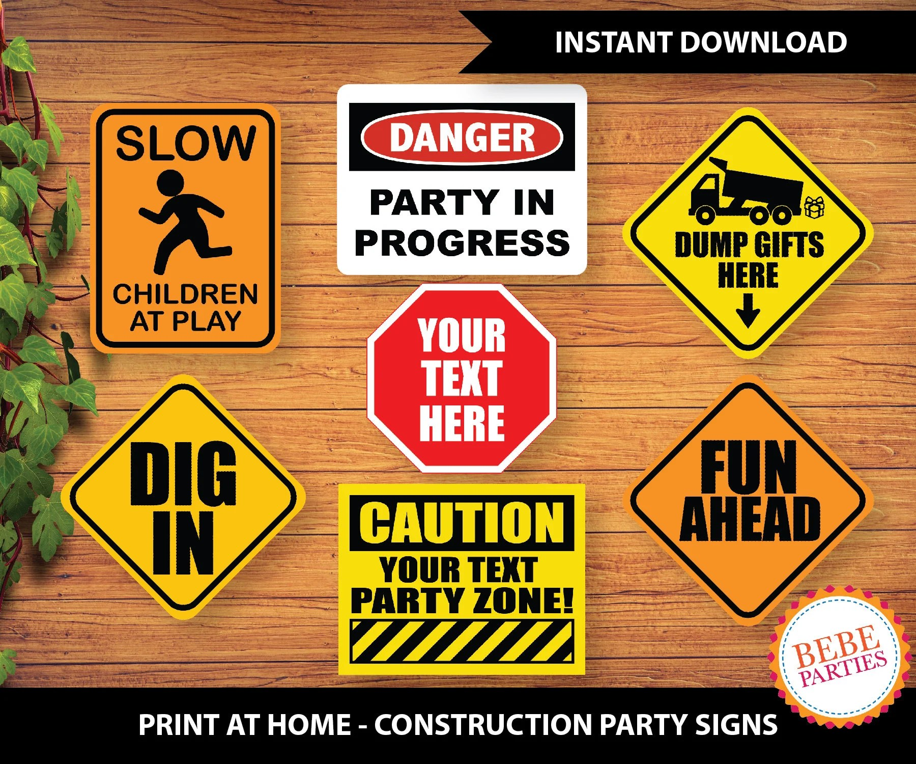 PRINTABLE Construction Party Signs One Zipped File Etsy