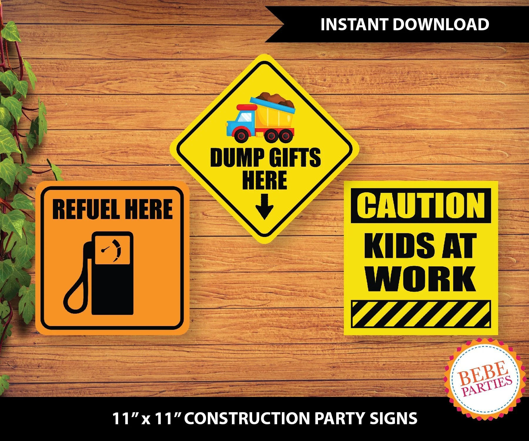 PRINTABLE Construction Party Signs Refuel Here Dump Gifts Etsy