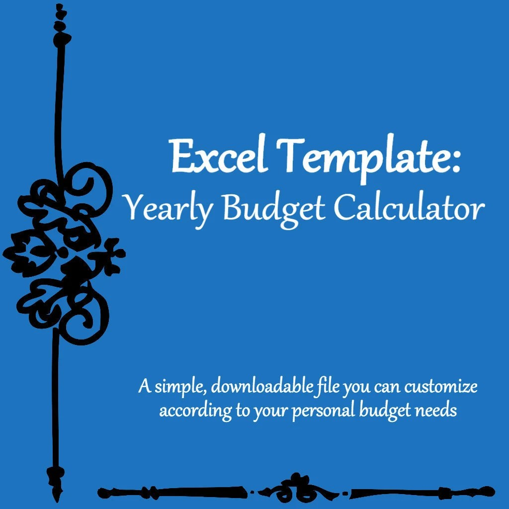 Yearly/Monthly Budget Calculator Excel Spreadsheet Template Etsy