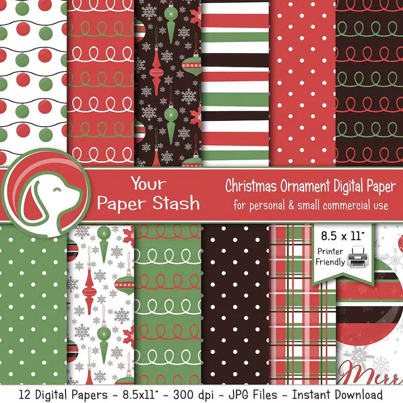 Printable Christmas Digital Papers for Scrapbooking Card Etsy