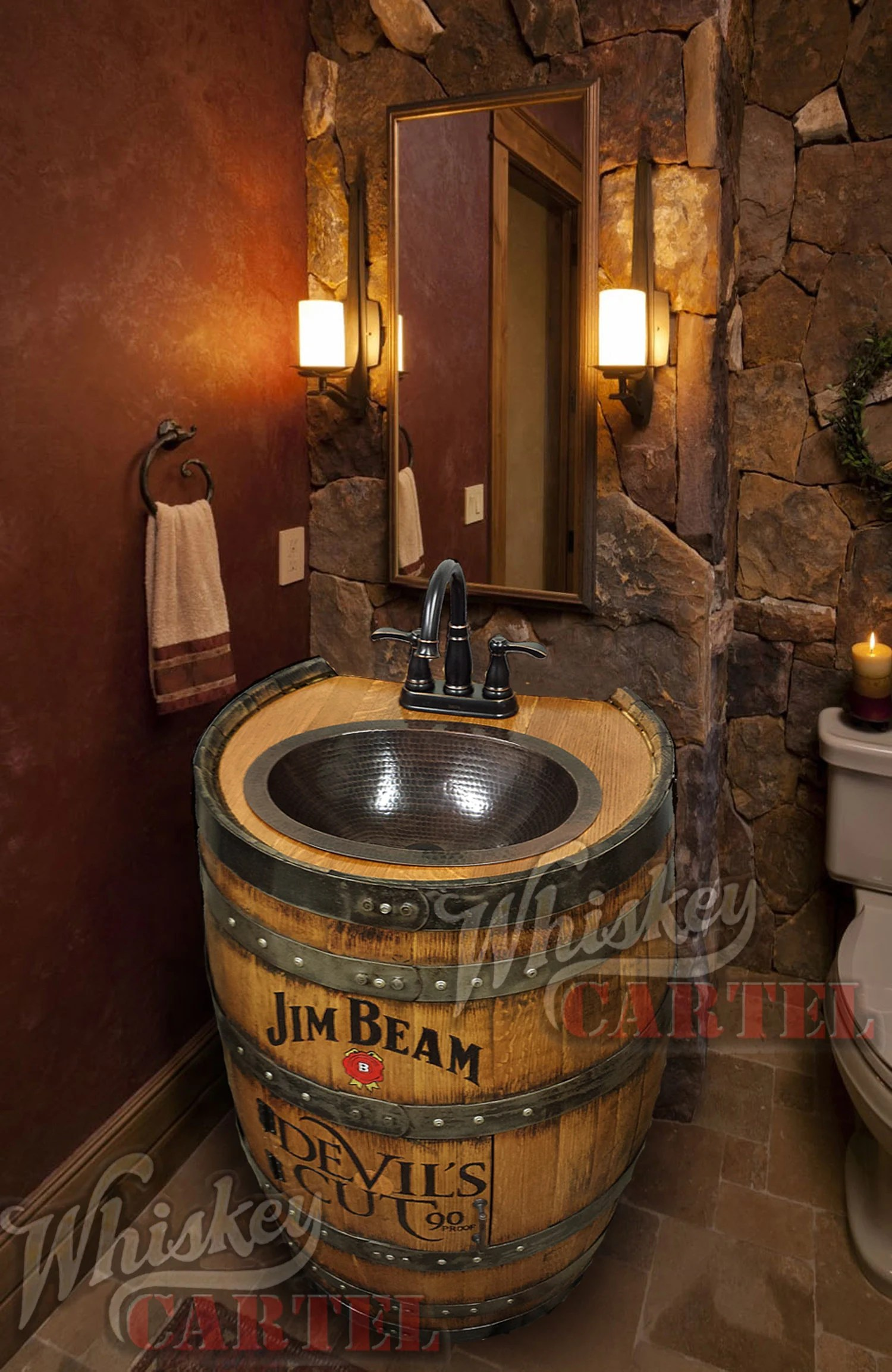 Badezimmer Set Sale Whiskey Barrel Sink Hammered Copper Rustic Antique Bathroom Bar Man Cave Vanity Wine Oak Barrel Vanity Bourbon Custom Personalized