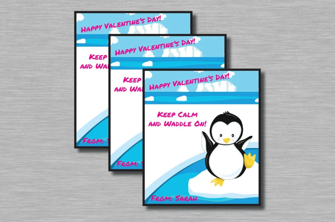 Penguin Valentines Printable Customized Name included Etsy