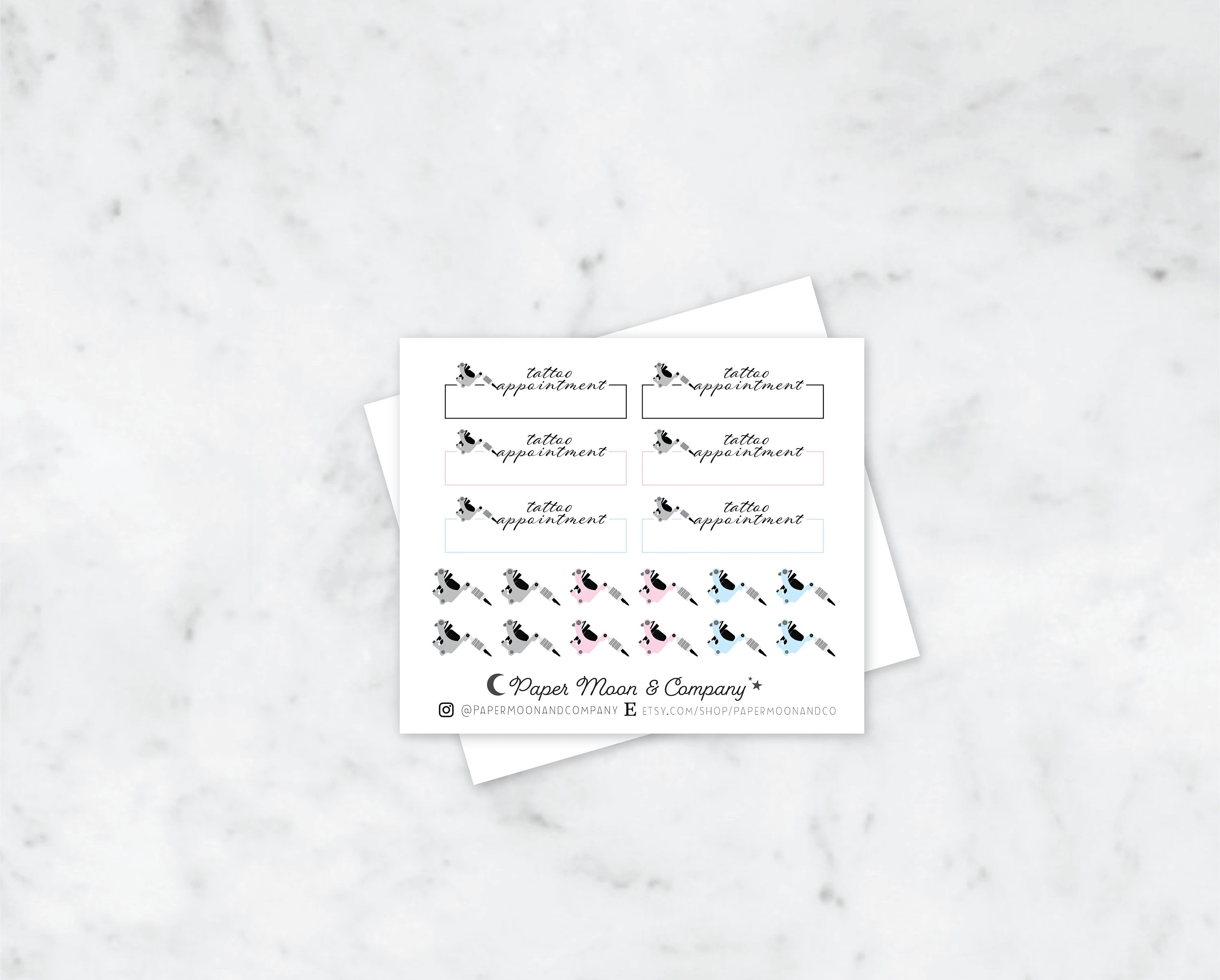 Tattoo Appointment Planner Stickers Etsy