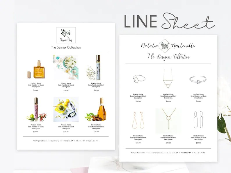 Line Sheet Word Template Minimal  Elegant Product Sales Etsy