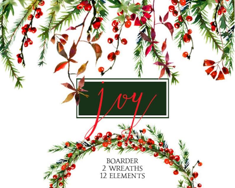 Christmas Watercolor Clipart Wreaths Border Floral Clip Art Etsy
