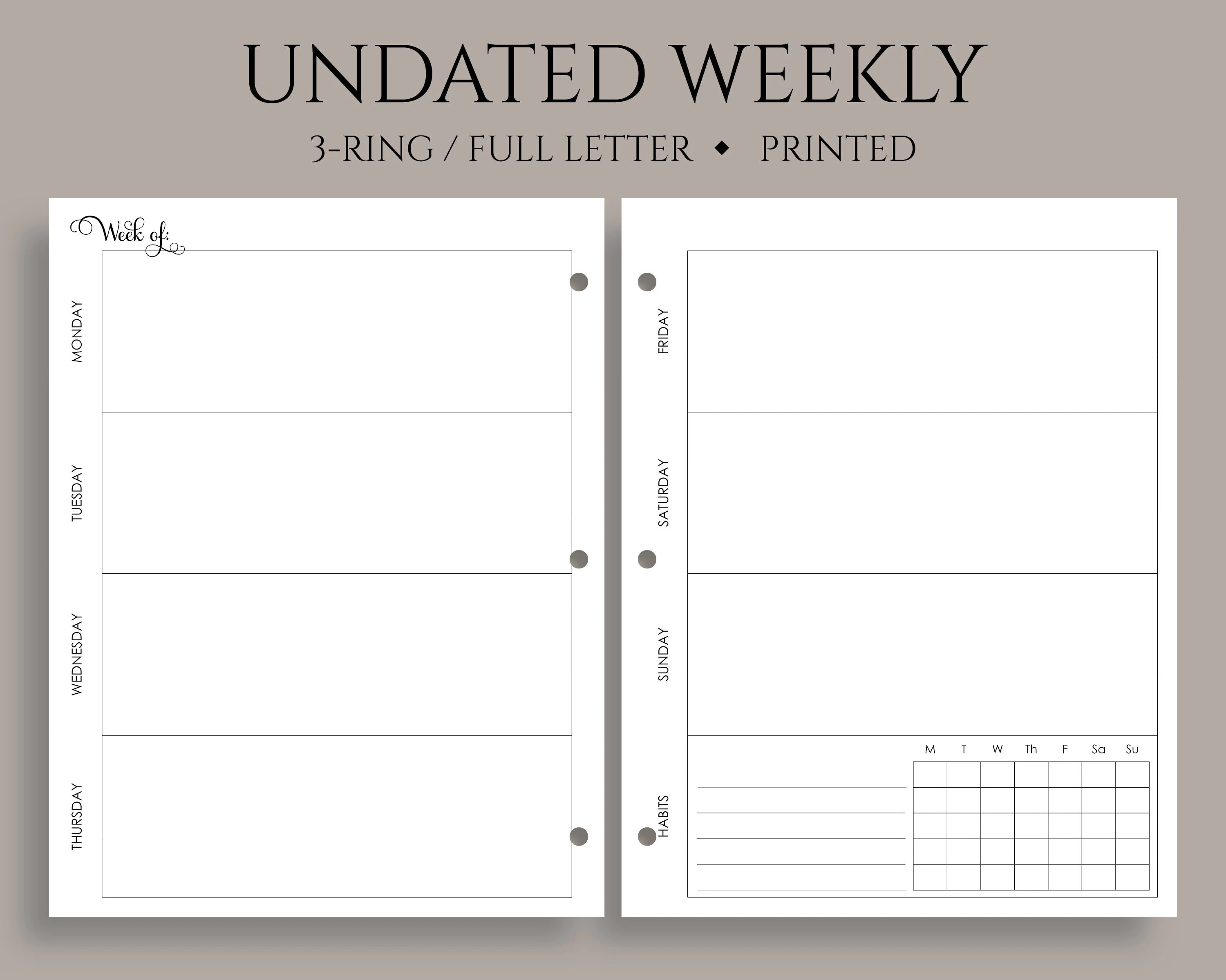 Undated Weekly Planner Inserts Horizontal Layout with Weekly Etsy
