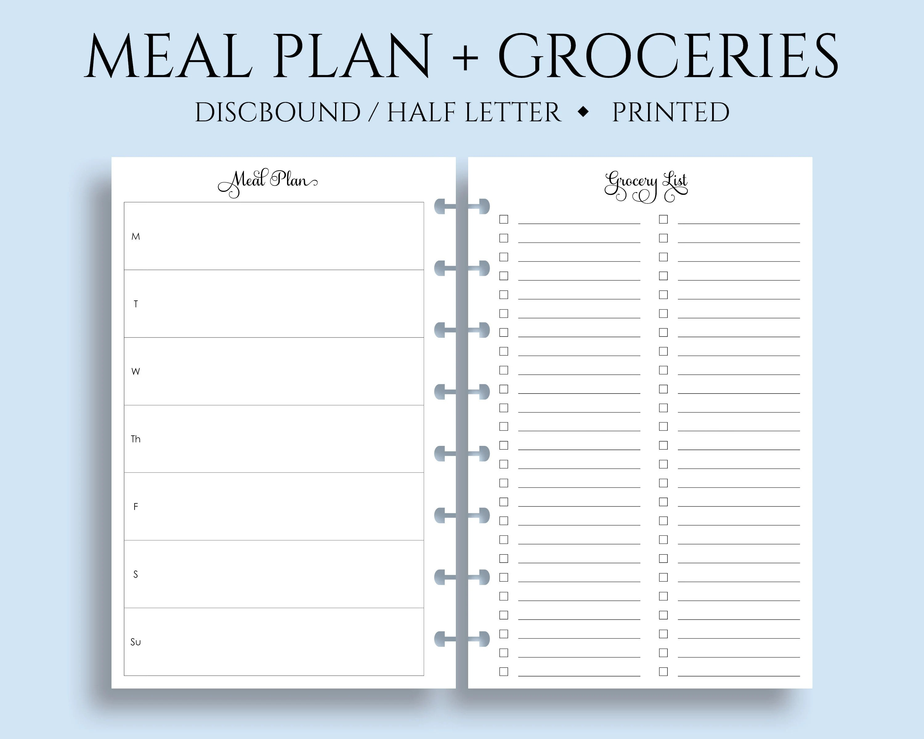 Weekly Meal Planning and Grocery Shopping List Planner Inserts Etsy