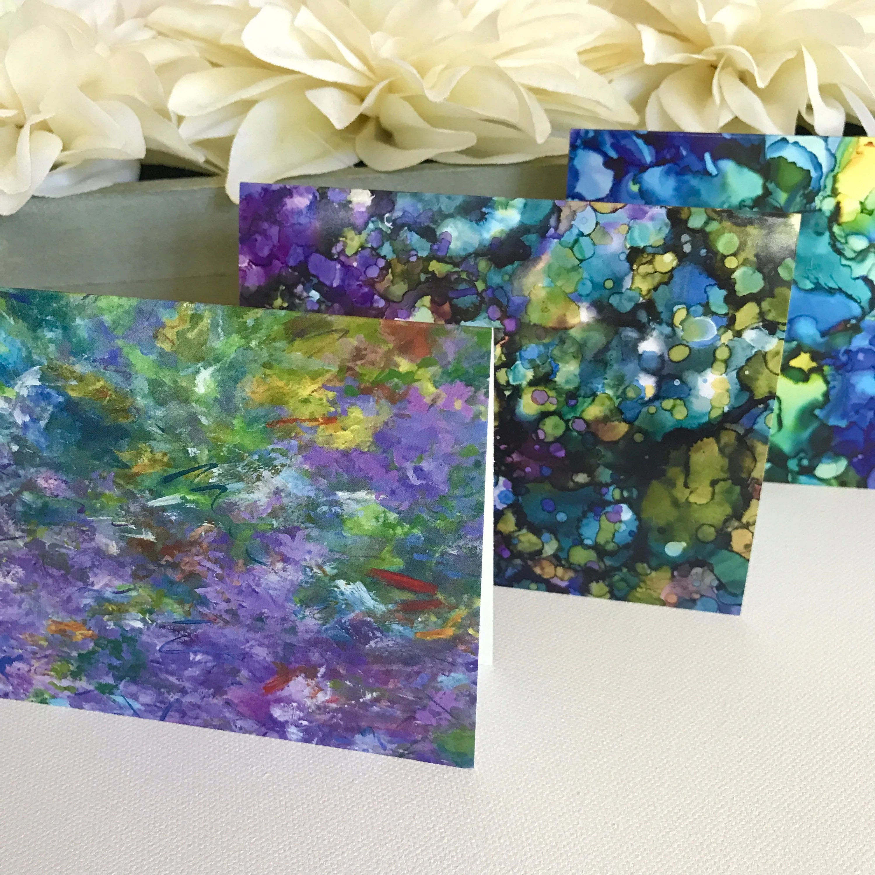 Abstract Purple Note Cards Boxed Set of 6 Cards 3 Patterns - purple note cards