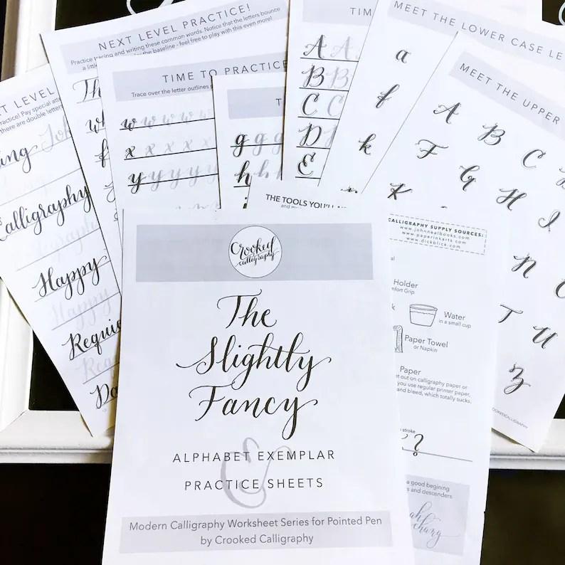Modern Calligraphy Worksheet PRINTABLE DOWNLOAD Slightly Etsy