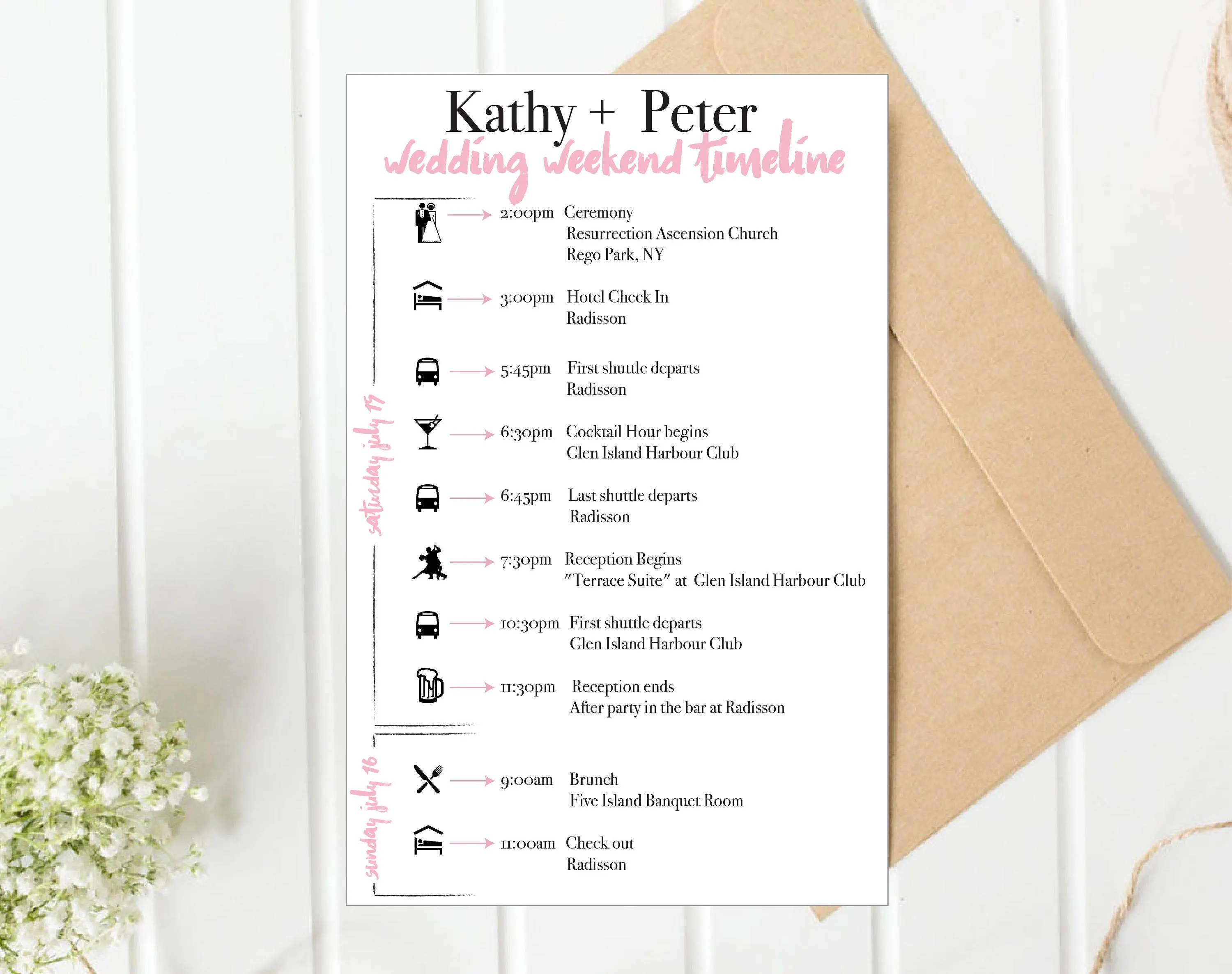 Custom wedding itinerary timeline with icons wedding schedule Etsy