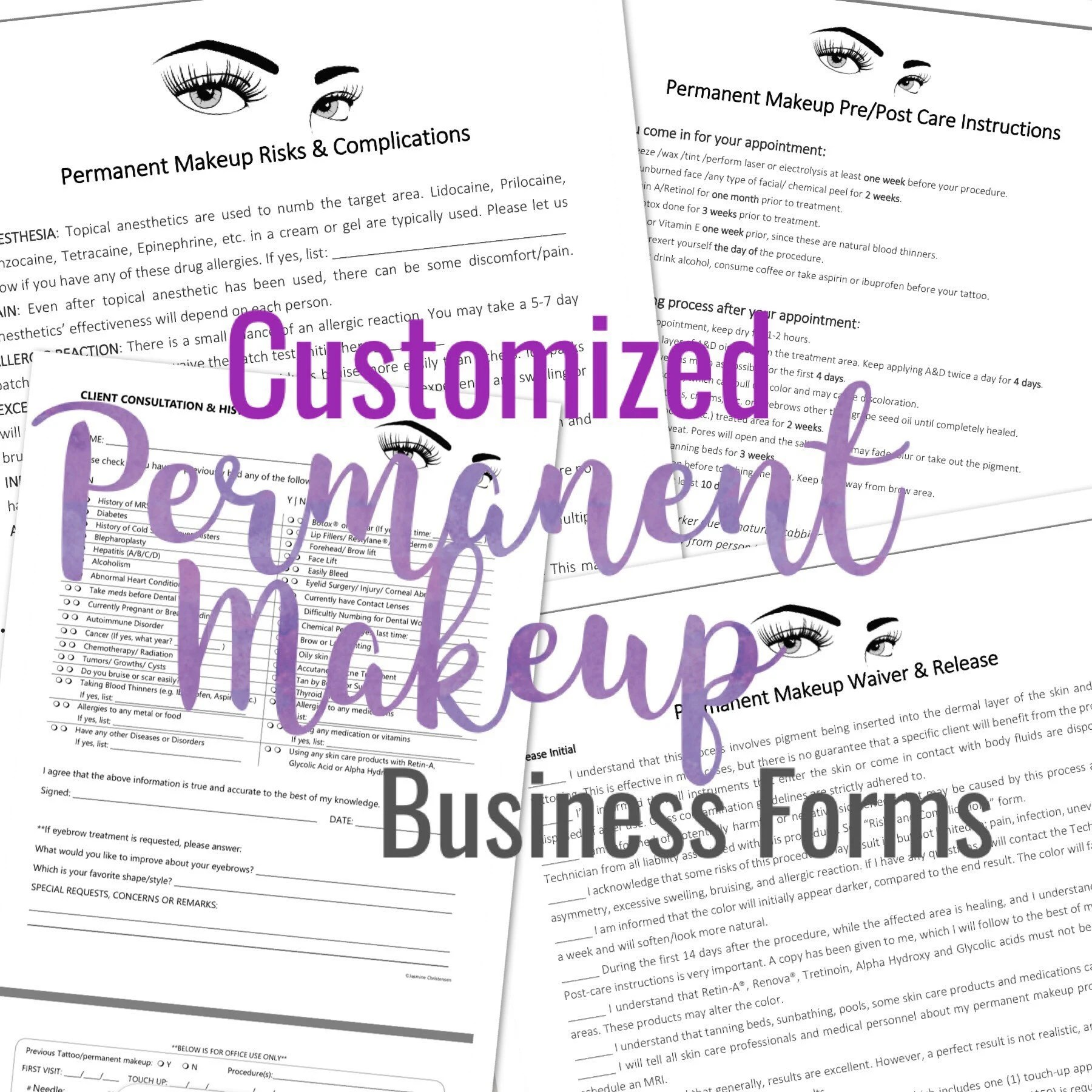 Permanent Makeup Cosmetic Tattoo Forms add your Logo Etsy - tattoo consent forms