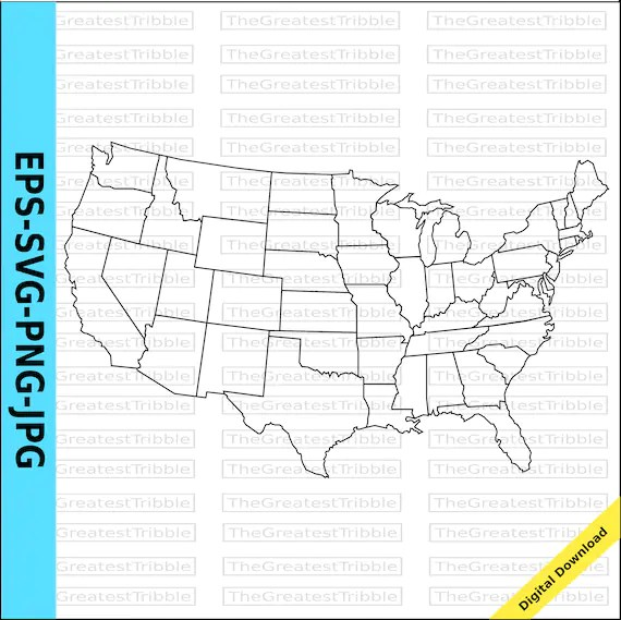 US Map United States Map State Outlines Transparent Etsy