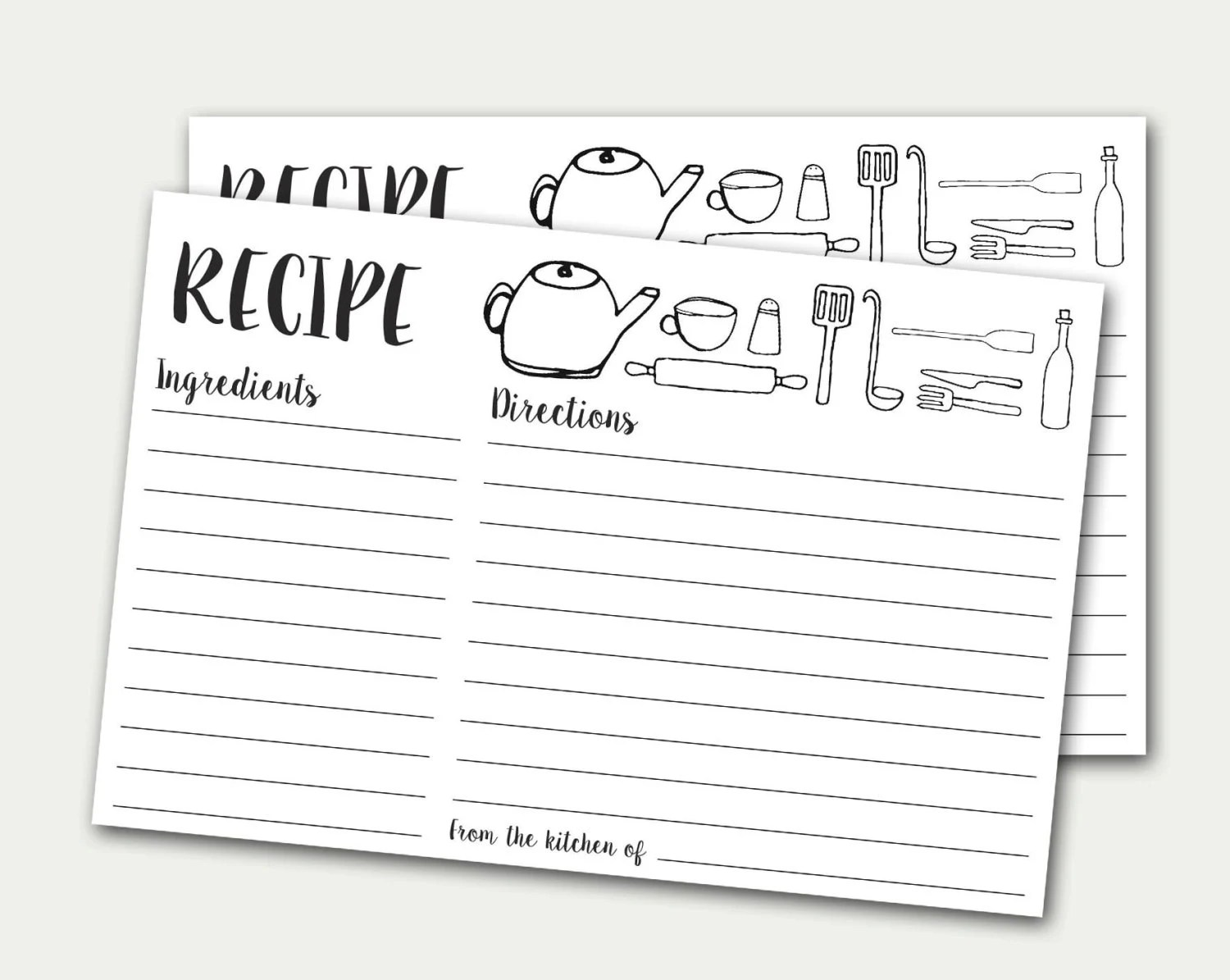 Recipe Cards Printable Recipe Card Doodles Recipe Card DIY Etsy