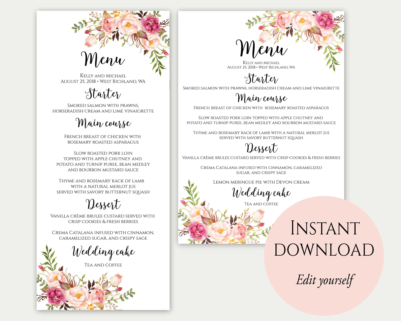 Wedding Menu Printable Wedding Menu Template Wedding Menu Etsy
