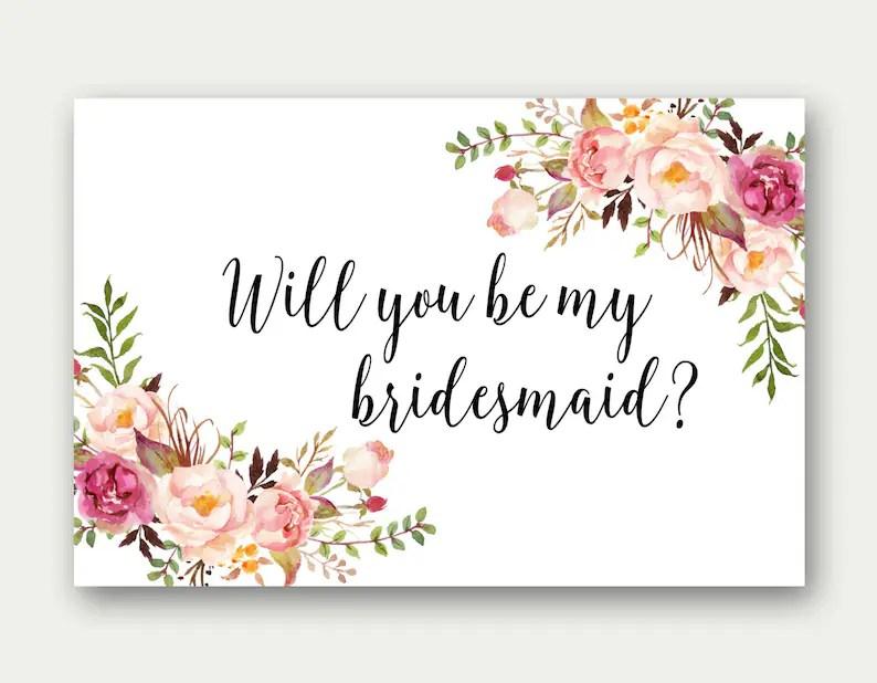 Will You Be My Bridesmaid Printable Bridesmaid Card Etsy