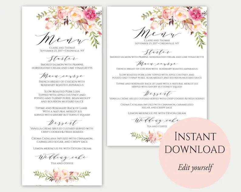 Wedding Menu Template 5x7 4x9 Wedding Menu Cards Menu Etsy