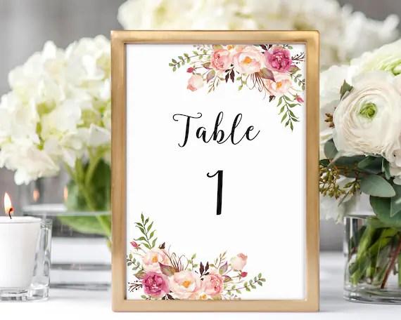 Wedding Table Numbers 1-40, Table Numbers, Table Number Cards