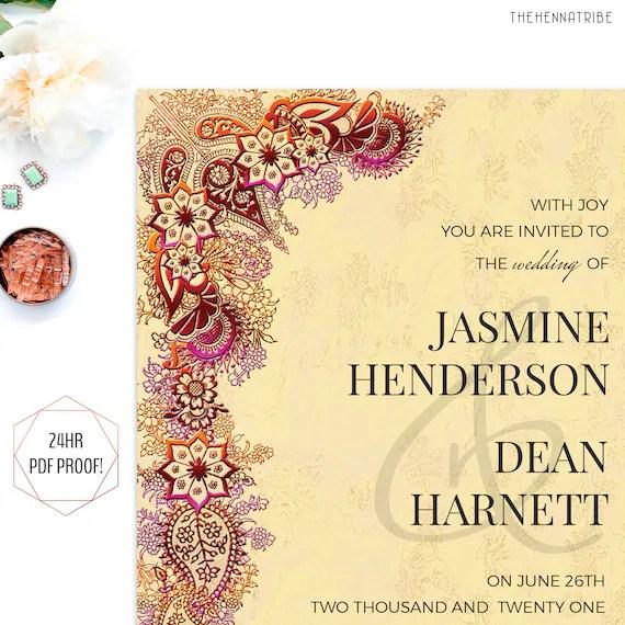 Indian Wedding Invitation - Printable Wedding Cards - Wedding