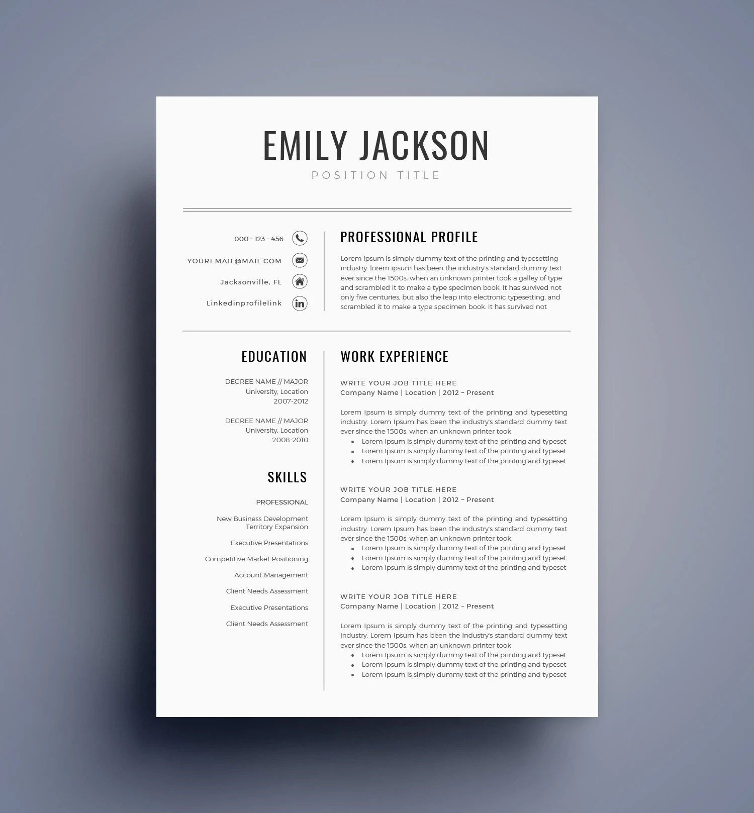 Resume Template / CV Template for MS Word BEST Selling Etsy