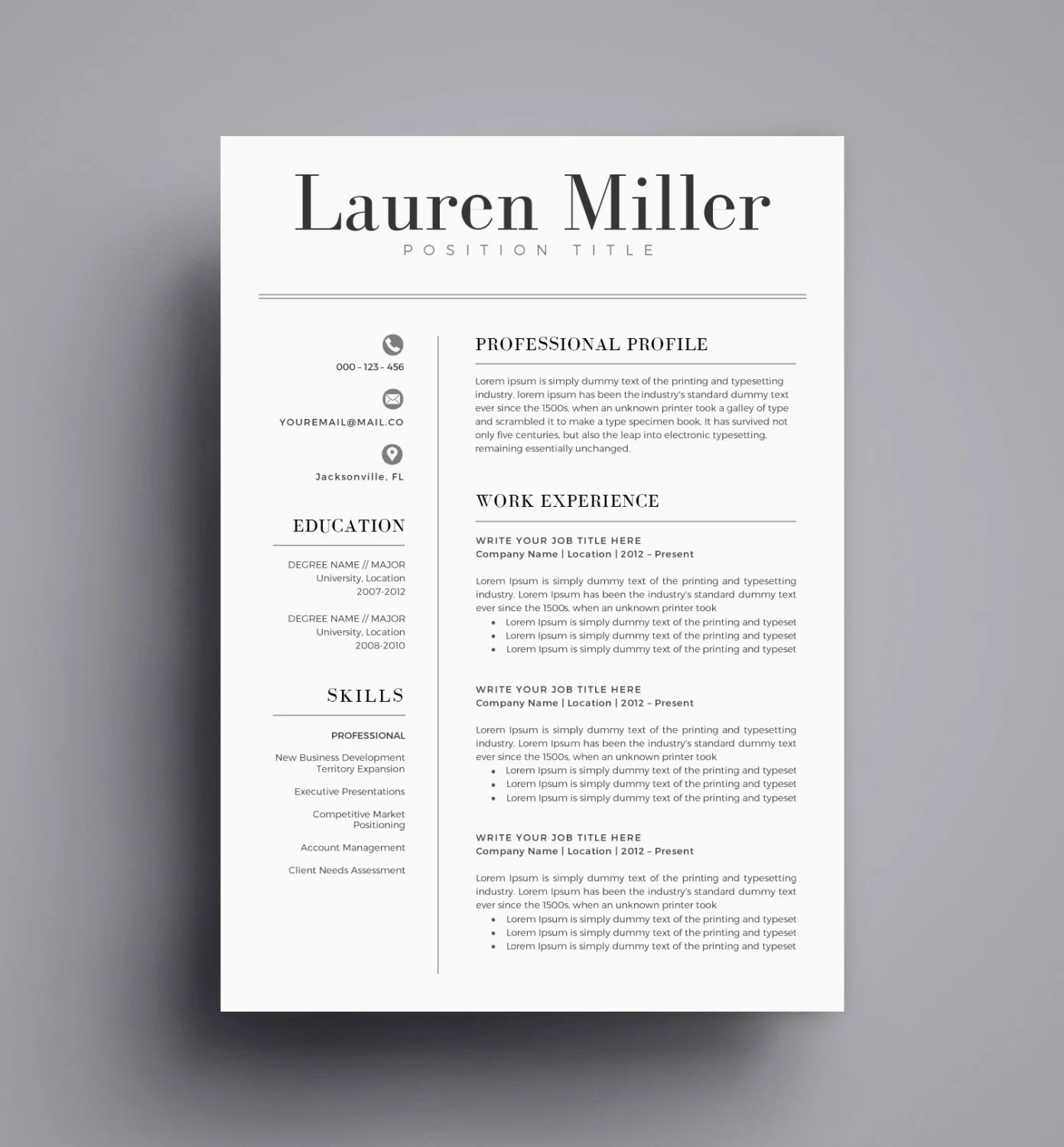 Resume Template / CV Template for Word Cover Letter Two Page Etsy