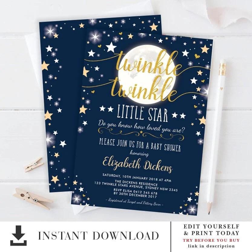 Moon  Stars Baby Shower Invitation / EDITABLE TEMPLATE / Twinkle