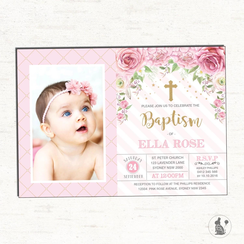 Girl Baptism Invitation Pink Gold Christening Printable Etsy