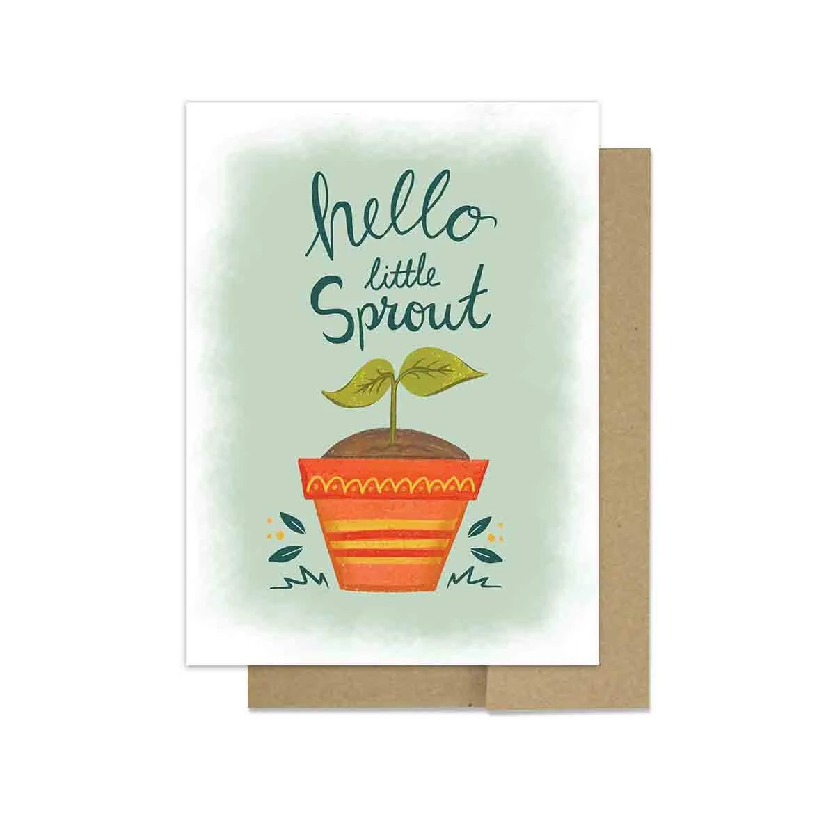 New Baby Card Hello Lil Sprout Congratulations New Parents Etsy
