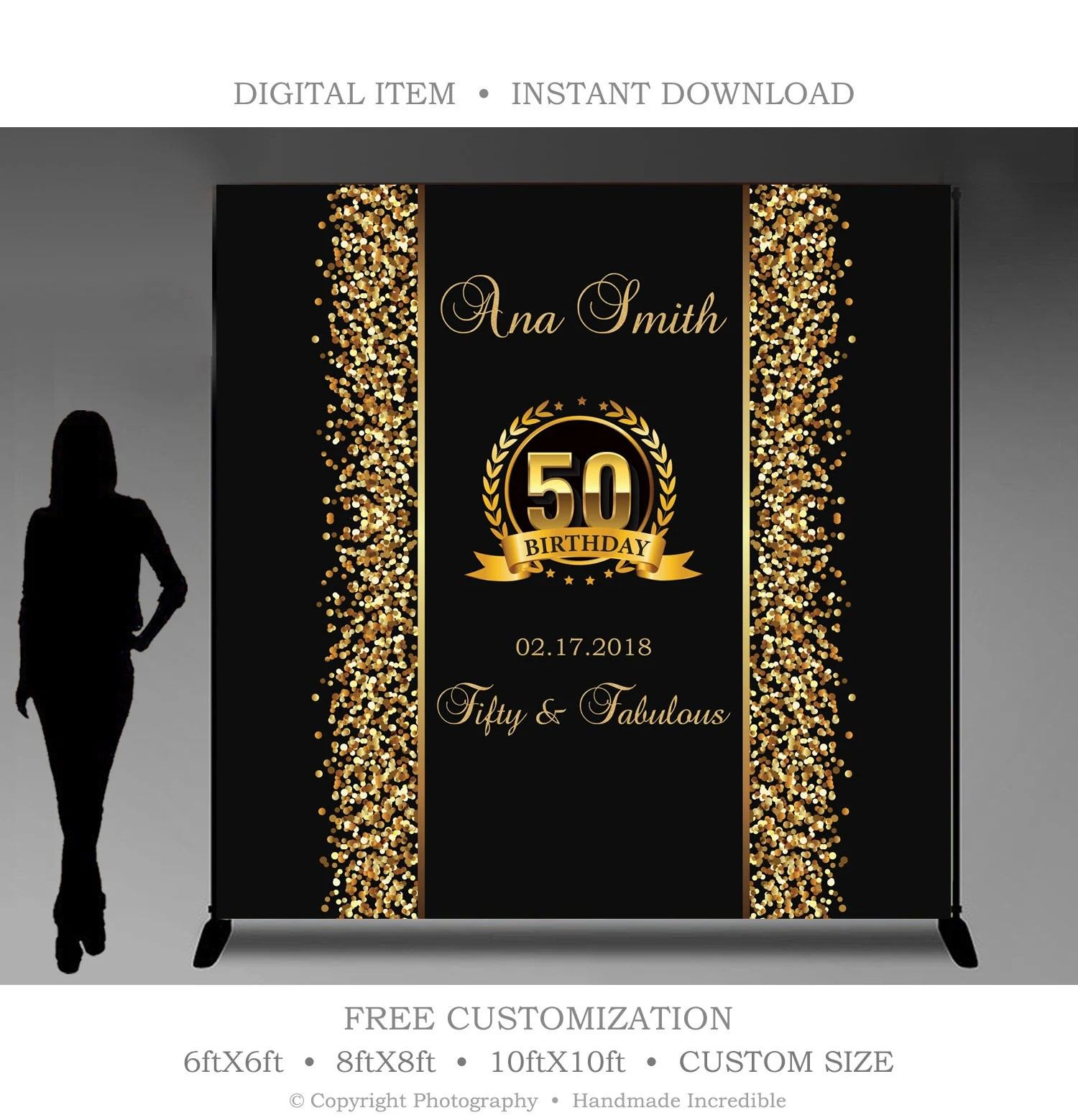 50th Birthday Party Backdrop Printable Black and Gold Party Etsy