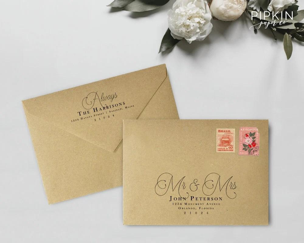 Printable Envelope Address Template Calligraphy Address Etsy