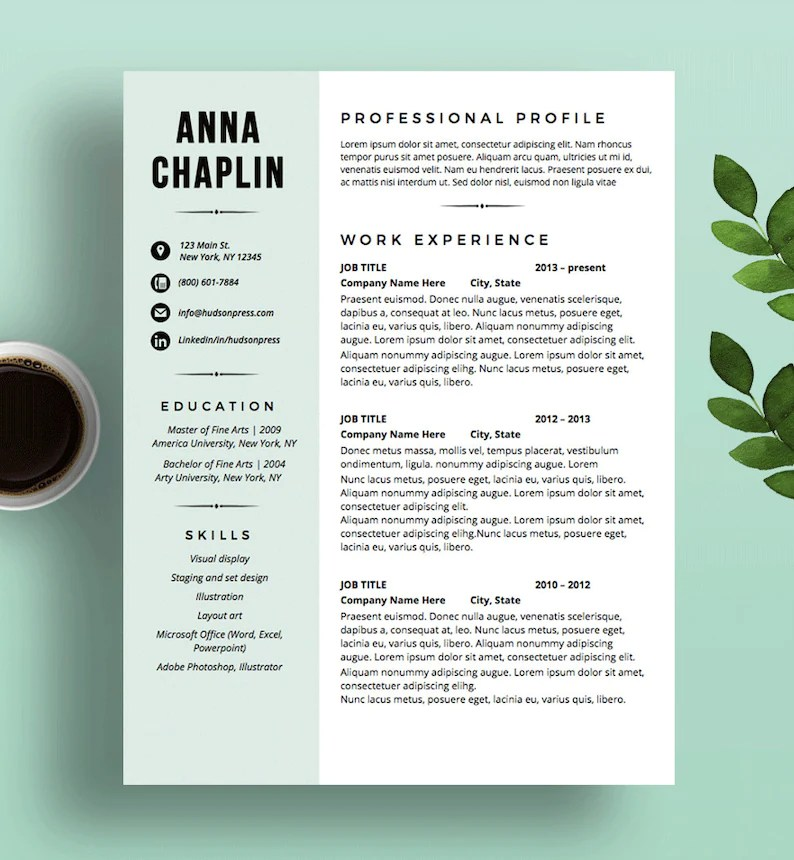Modern Resume Template CV and Cover Letter Resume Layout Etsy