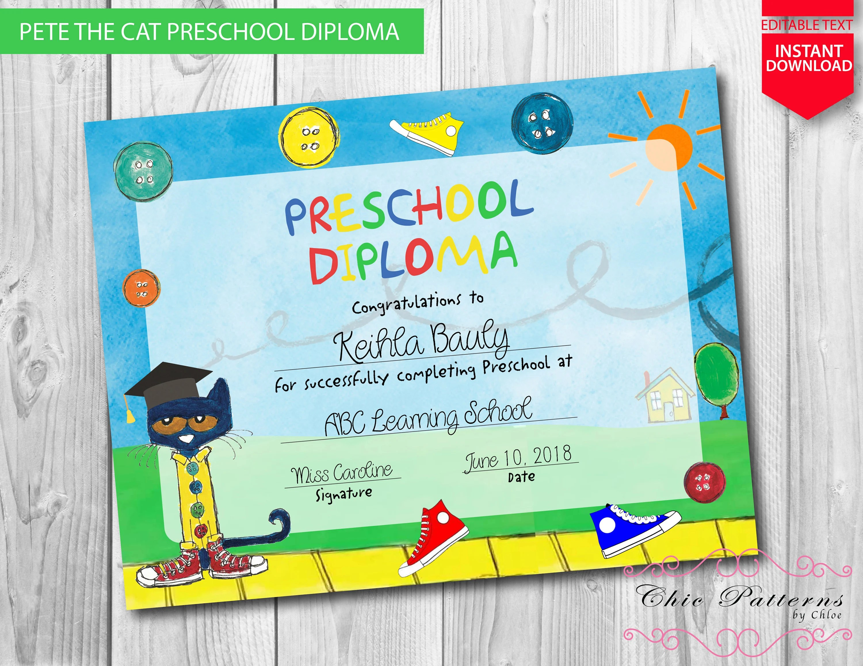 Pete the Cat Preschool Diploma INSTANT DOWNLOAD Editable - Printable Preschool Diplomas