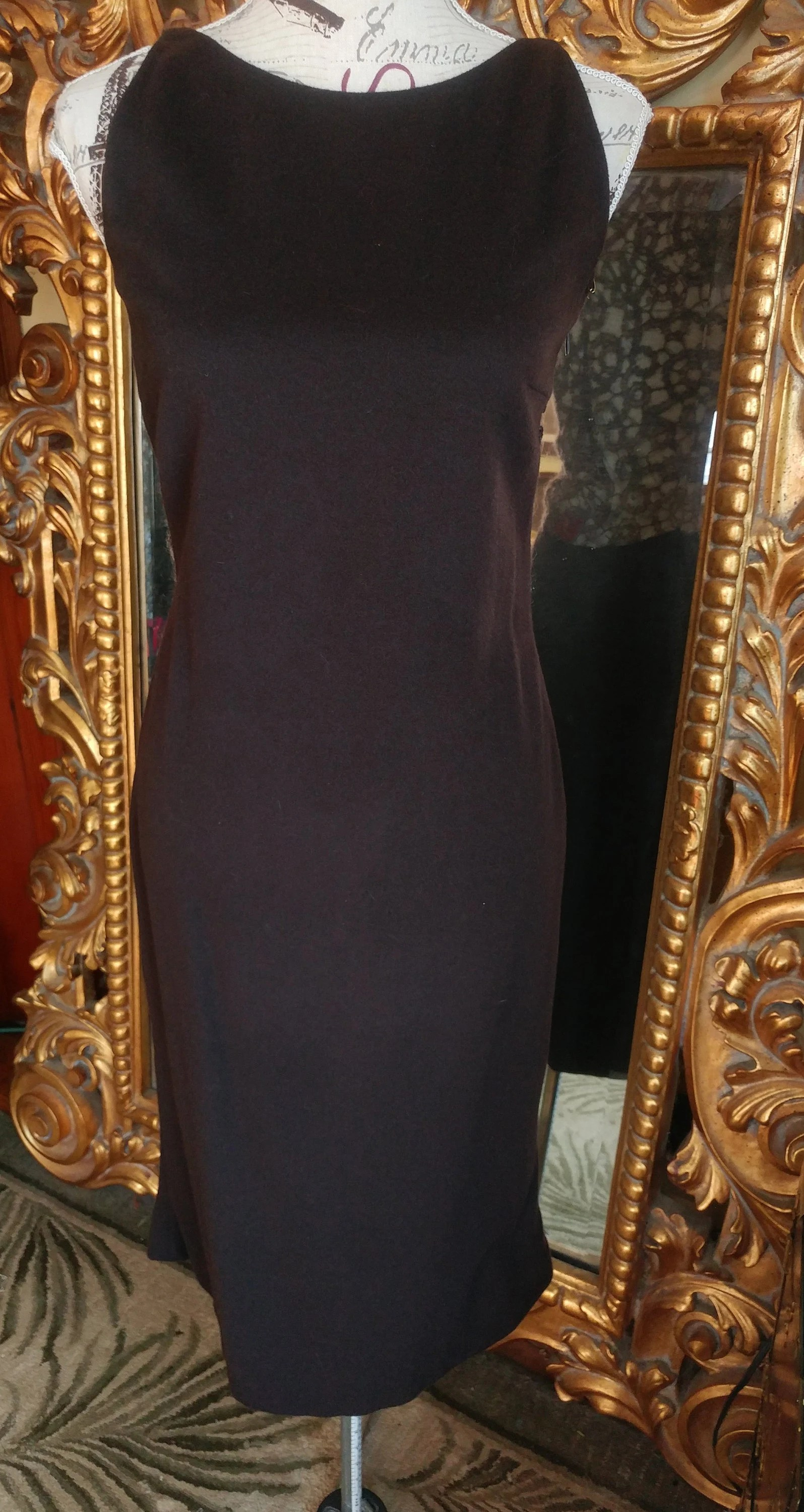 Ecole De La Chambre Syndicale Paris Designer Thomas Steinbruck Chocolate Brown Cashmere Sheer Back Dress
