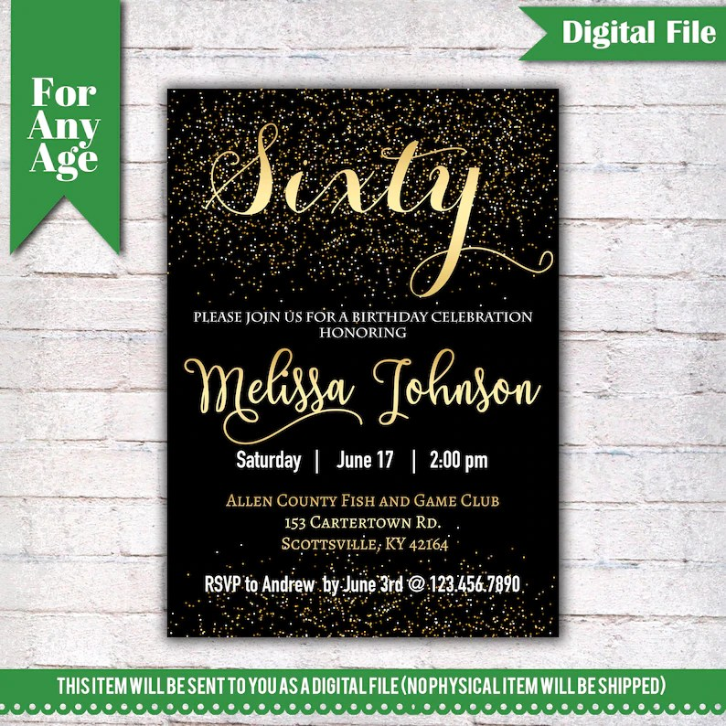 60th Birthday Invitation Birthday Party Invite Printable Etsy